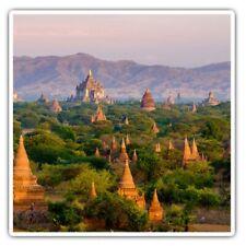 2 x Square Stickers 7.5 cm - Temples Bagan Myanmar Burma Cool Gift #3529