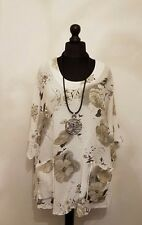 New ITALIAN QUIRKY LAYERING floral LINEN MIX pocket LaGeNLooK BOXY boho TOP14-22