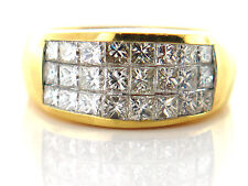 2.61 CT Natural Princess Cut Diamond Lady's Ring VS1/G 18K Yellow Gold