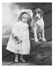 1900s era vintage photo-Little girl wearing bonnet_dog_beagle_B&W-8x10 in
