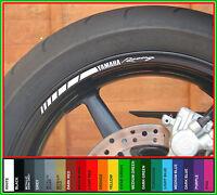 8 x YAMAHA RACING Wheel Rim Stickers - yzf r1 r6 r125 fazer xj6 xjr fj mt09 mt10