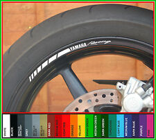 8 x YAMAHA RACING Wheel Rim Stickers - yzf r1 r6 r125 fazer xj6 xjr fj mt09 mt10