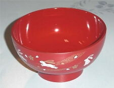 Japanese Plastic Rice Soup Bowl Bunny Red #1896 S-1891