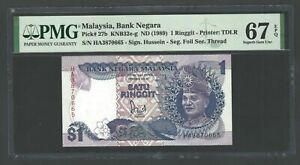Malaysia One Ringgit ND(1989) P27b Uncirculated Graded 67
