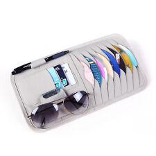 Car Sun Visor PU Leather Sunshade CD Disc Storage Bag Glasses Holder Case Grey