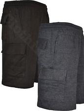 S36 Mens Plain Cargo Gym Combat Fleece Jogger Shorts Elasticated waist Running