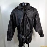 PHASE 2 Soft LEATHER JACKET Coat Mens Size XL black zippered belted