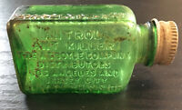 Antique 1920's ANTROL Ant Killer Poison EMPTY Bottle - Emerald Green- Flat side