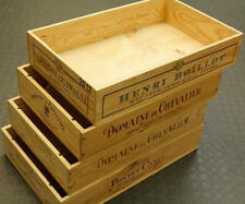 LONG SIDED FLAT HALF SIZE FRENCH WOODEN WINE CRATE BOX -HAMPER STORAGE PLANTER '