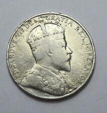 1907 Cyprus 18 Piastres Edward VII KM#10 .925 Silver  F/VF, Scarce Coin !