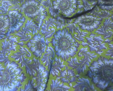 Vintage Blue & Green PAISLEY FLORAL Medallion Print COTTON Fabric 2.5 Yds