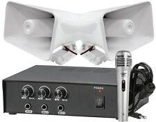 "Pyle Pair of 8"" Indoor Outdoor 65W PA Horn Speakers w/Amplifier & Microphone"