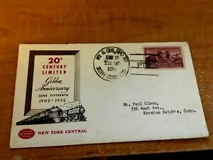 JUNE 1952 NEW YORK CENTRAL NYC 20th CENTURY LIMITED 50th ANNIVERSARY ENVELOPE #6
