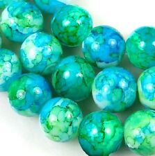 "8mm Baking Varnish Glass Round Beads - Blue w/ green 15.5"""