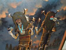 Huge Framed Signed Navaho Indian Oil Painting by Listed Artist Fred Cleveland