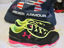 BRAND NEW UNDER ARMOUR MENS RUNNING SHOES 1255215-200 BLK/PINK/NEON 10 FREE SHIP