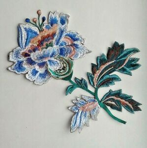 Flowers Jacobean Handmade Sew-On Embroidered Patch