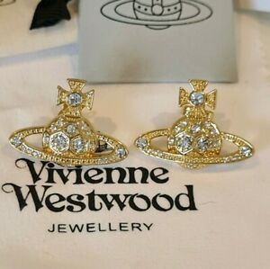 Vivienne Westwood Thalia gold tone crystal Orb Earrings New with Box