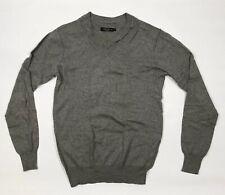 All Saints Grey Wool Jumper Mens Medium V Neck Thin Knit Lerner Distressed