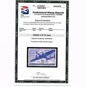 GENUINE SCOTT #C27 USED PSE GRADED CERT F-VF 75 - APPARENT SUPERB 98 CENTERING