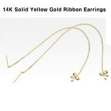 TPD Solid 14K Yellow Gold Ribbon Threader Long Drop Dangle a Pair of Earrings