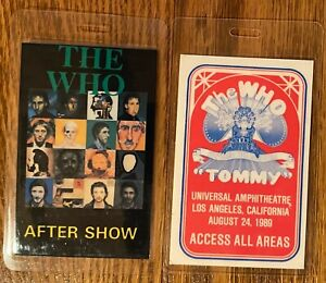 "2 The Who ""TOMMY"" Laminated ACCESS ALL AREAS Backstage Pass & TOUR AFTERSHOW"