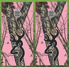 "Deer Hunting Browning Pink Cornhole Wrap Decals Bag Toss 3M Vinyl 24x48"""