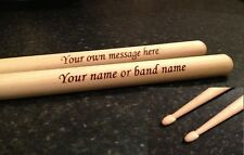 Personalised Laser Engraved Pair of Drum Sticks High Quality 5A Maple