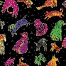 Laurel Burch Dogs & Doggies Cotton Fabric Y1800-3M, Black w/Gold Metallic BTY