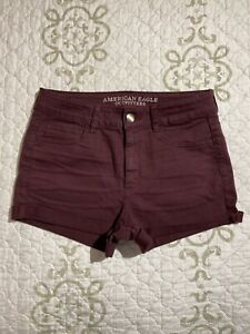 🎼American Eagle Women's Hi-Rise Shortie Denim Shorts Sz 10 Super Stretch Cuffed