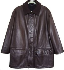 CANALI Mens Coat Jacket Leather Brown Size 52 US 42