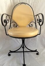 4 Antique 1930s Swivel Dining Chairs Art Deco Scrolled Wrought Iron Vinyl Yellow