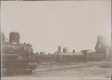 France, Dépôt de St Martin. Locomotives  Vintage citrate print.  Tirage citrat