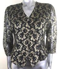 Etam Top Gold Lurex Metallic Lace Top Cropped Jacket Blouse Buttoned Size 12
