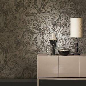 Metallic Marble Effect Wallpaper | Brown & Bronze