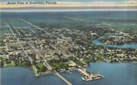 Bradenton Florida FL Aerial View Linen Antique Postcard 26712