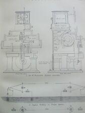Grabado antiguo de impresión con fecha C1870'S telegrafía Grabadora de sifón de Sir W Thomson