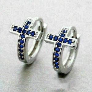 14K White Gold Finish Round Cut 0.75Ct Blue Sapphire Cross Huggie Hoop Earrings