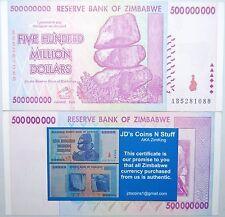 10X ZIMBABWE 500 MILLION DOLLARS GUARANTEED 2008 AB SERIES W/ COA 100% AUTHENTIC