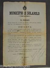 Avviso Comune Solarolo Ravenna Verde Taglio Siepi Pulizia Strade Romagna 1906