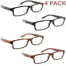 4 Pack Reading Glasses Square Clear Lens Readers for Men and Women