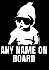 Personalised Large Cool Baby on Board Car Window Sticker Vinyl Decal Any Name
