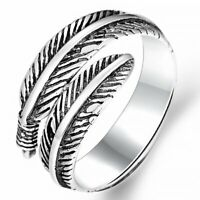 Silver Leaf Feather Open Ring Finger Knuckle Ring Gift Adjustable Women Jewelry