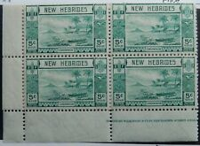 Br. New Hebrides Scott # 50 Part-Sheet of 20, Mint OG Never Hinged