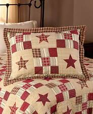 NOSTALGIA RED STAR 3pc * King * QUILT SET : COUNTRY CHECKS PLAID FARMHOUSE CABIN