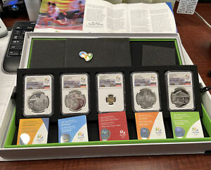Brazil 2015 Gold/Silver 5 Coin Proof Set NGC PF70UC Rio 2016 Olympics Series 2-A