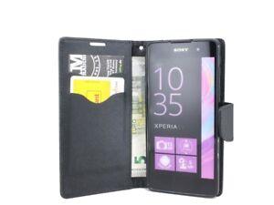 Book-Style Handy Hülle Etui Tasche Cover in Schwarz für Sony Xperia E5 @COFI