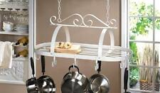 New! Country Kitchen White Iron Hanging Cookware Pot Pan Rack Organizer 15252