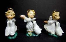 Vintage 3 Sweet Angels Feeding Geese Spaghetti Trim Porcelain Figurines Japan?