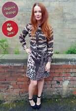 Original Vintage 1960s Lanvin Chocolate Bold Print Dress UK Size 12/14